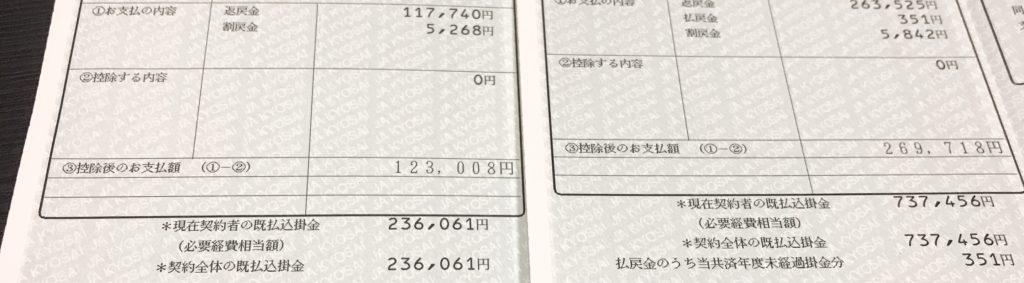 JA共済返戻金支払い通知