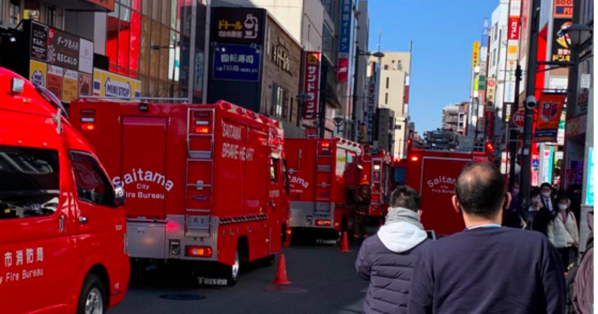 埼玉、大宮駅東口付近火災発生画像、火事